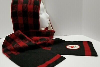 Winter Olympics Scarf CANADA ROOTS Canadian Plaid Hudson's Bay Unisex Black Red