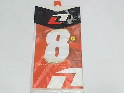 """One Industries 4"""" Supercross Numbers 3-Pack White No. 8 Graphic Number Plate"""
