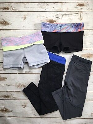 Girls Ivivva By Lululemon Rhythmic Shorts Legging Bundle Black Grey Blue 6