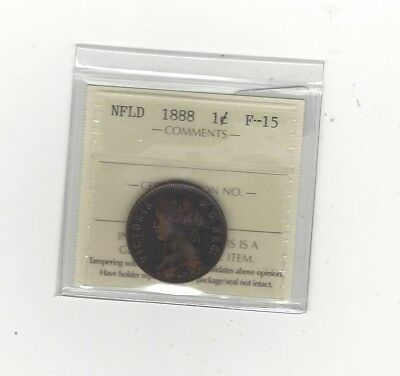 1888, ICCS Graded Newfoundland, Large One Cent, **F-15**