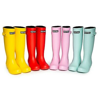 Womens Ladies Girls Tall Festival Rubber Neoprene Lined Wellington Welly Boots