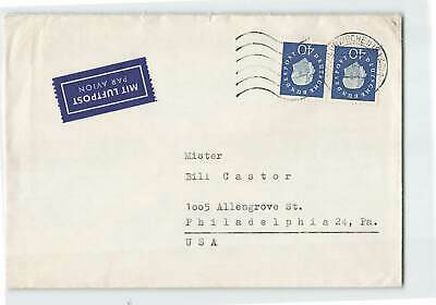 Germany Pair On Cancelled Airmail Cover To Philadelphia In Usa