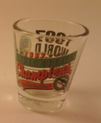 Vtg Souvenir MLB Shot Glass 1997 W.S. CHAMPS FLORIDA MARLINS Hunter USA