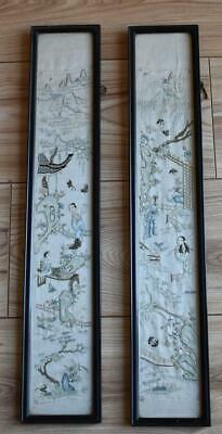 FINE PAIR ANTIQUE 19thC CHINESE HAND EMBROIDERED SILK SLEEVE PANELS