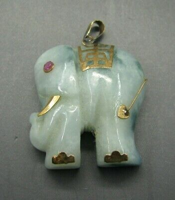 14K YELLOW GOLD Gorgeous CARVED GREEN JADE ELEPHANT Pendant Charm PINK RUBY EYE