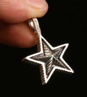 925 Silver Genuine Silver Solid Silver Pendant Star Feather Mascot Old Gift