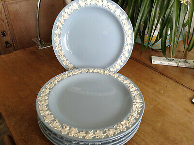 "Blue & White Embossed Wedgwood Queens Ware 6 x 9"" Plates, Scarce Size."