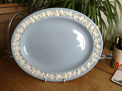 Blue & White Embossed Wedgwood Queens Ware Large Oval Serving Plate