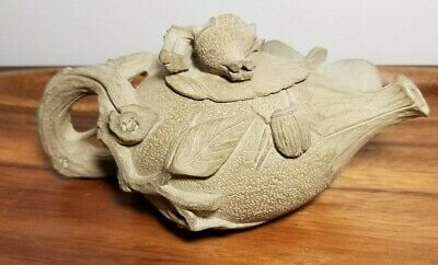 Signed chinese hand carved yixing zisha clay teapot white clay with butterfly
