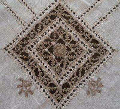 Vintage Linen Tablecloth Reticella Needle Lace Cutwork Embroidery 99""