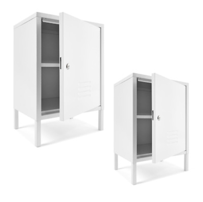 Set of 2 - Short White Metal Student Locker School Gym Removable Shelf Lockable