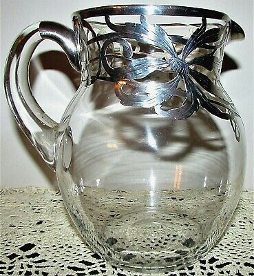 Stunning Antique Clear Glass Water Pitcher Silver Floral Overlay, Applied Handle