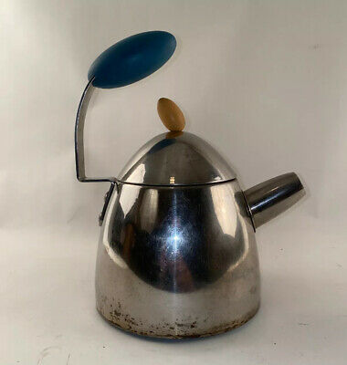 Vintage Mid Century MCM Atomic Tea Pot Stainless Kettle Space Age Michael Graves