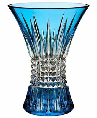 """Waterford Lismore Diamond Sapphire 8"""" Vase Cased Crystal #161024 New In Box"""