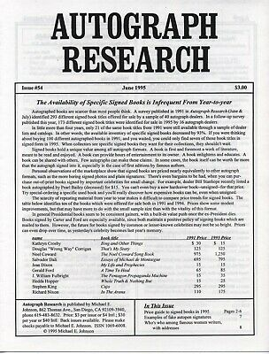 Autograph Research #54 June 1995, newsletter; Signed books price guide in 1995