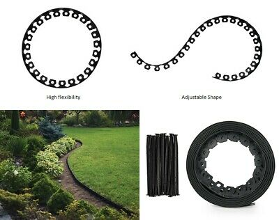 Garden Lawn Edging Strip Flexible Plastic Border For Grass & Pathway + Pegs