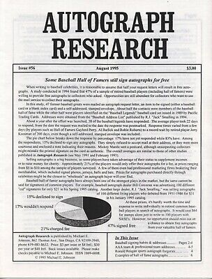 Autograph Research #56 August 1995 newsletter; Baseball Hall of Fame autographs