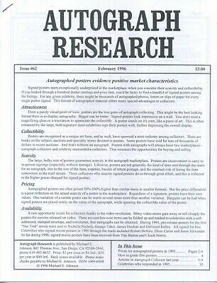 Autograph Research #62 February 1996; Autographed Posters market and prices