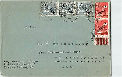 GERMANY 1948 BERLIN OVPT 5v ON COVER TO USA