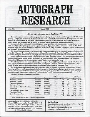 Autograph Research #66 June 1996; Review of autograph periodicals in 1995