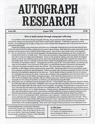 Autograph Research #68 August 1996; How to make money in autograph collecting