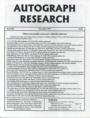 Autograph Research #83 November 1997; Thirty-one sources for celebrity addresses