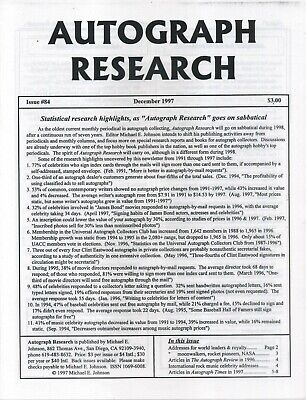 Autograph Research #84 December 1997 newsletter; Statistical research highlights
