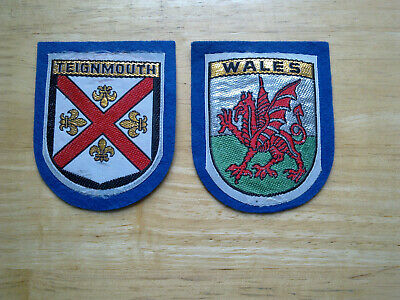 2 X Vintage Teignmouth And Wales Cloth Patch / Badges.