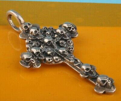 Unique China 925 Silver Pendant Statue Skull Cross Exorcism Collection