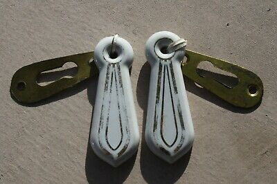 2 Antique Victorian Key Hole Escutcheon/Cover Porcelain Brass Gold Trim