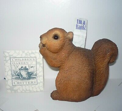 """SQUIRREL BANK - Children's Garden of Critters - hand painted 5"""" tall -6"""" wide"""