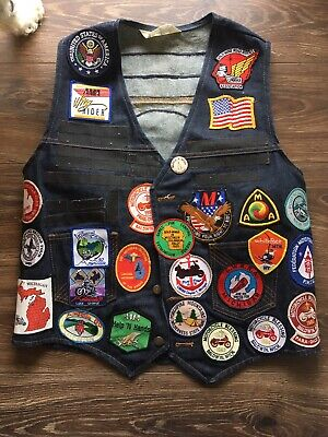 Vtg 80s 90s MICHIGAN Honda MOTORCYCLE Patches DENIM VEST Nite Hawk GOLD WING XL