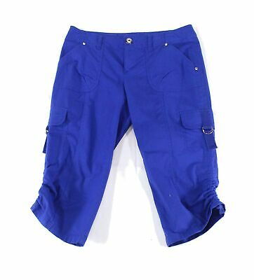 INC Womens Pants Sea Blue Size 32 Capris Ruched-Leg Pocket Cropped $49- 456