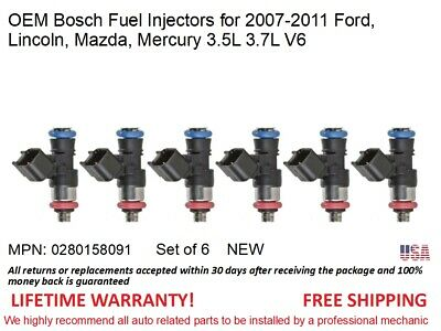 Fuel Injectors MP#0280158091 OEM Bosch 6pack Rebuilt />2007-2011 Lincoln MKZ 3.5L