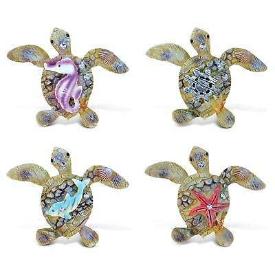 Puzzled Sea Turtle Rockstone Resin Refrigerator Magnet (Pack Blue