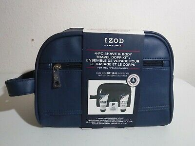 IZOD Perform Men's Blue Leather Shave and Travel Dopp Kit Wash Toiletry Bag Case