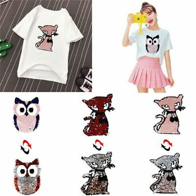 Prettyia Cute Panda Sequins Patch Applique Sew on T Shirt Sweater Reversible