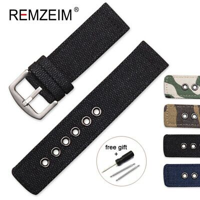 Wrist Watch Bands Strap Bracelet Trendy Pure Canvas Fabric Pin Buckle 18mm 24mm