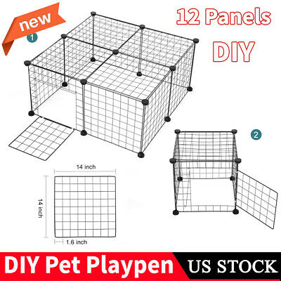 12 Panel Foldable Dog Playpen Crate Metal Fence Pet Puppy Play Pen Exercise Cage