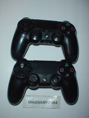 2x Official Sony PS4 Dualshock BLACK Controllers - Playstation 4 *PARTS/REPAIR
