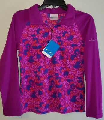 NEW Columbia Girls 14/16 Glacial II Fleece Print Zip Pullover PINK PURPLE #AM20