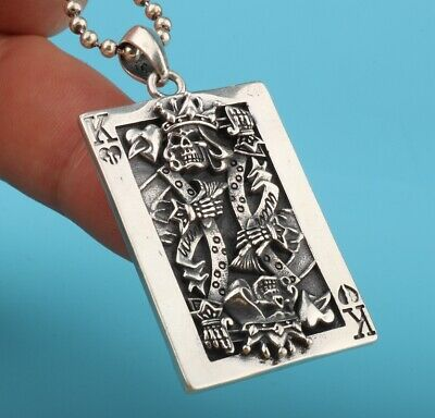 Preciou 925 Silver Pendant Plate Hand-Carved Poker King Mascot Decora Gift
