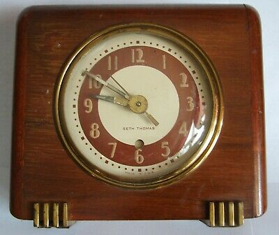 Vintage Seth Thomas Wood Table Electric Alarm Clock For Parts Repair? Cat # 3671