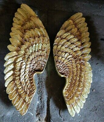 BULK 30 Angel wing  charms antique gold GC230