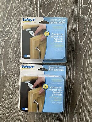 2 Safety First Locks & Latches Cabinet  Door Spring & Release White 7 pack Each