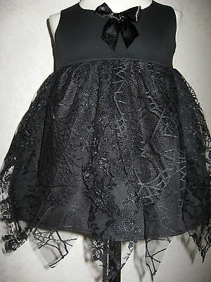 Witch Baby Dress Girls Black Lace petal Halloween Fancy Party Alternative Gothic