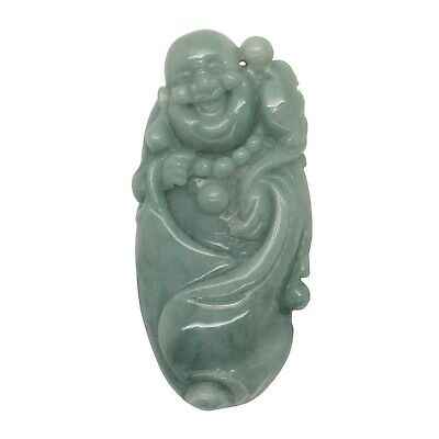 Green Jade Pendant Happy Buddha, Laughing Buddha Figure k217N