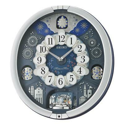 Seiko QXM379S Melodies in Motion Wall Clock with Volume Control-Metallic Silver