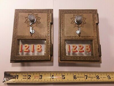 2 Working Vintage Combination Post Office PO Mail Box Door American Device 1961