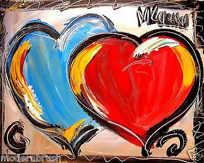 Valentine Hearts  Modern Abstract Original Oil Painting  Textu Red Canvas